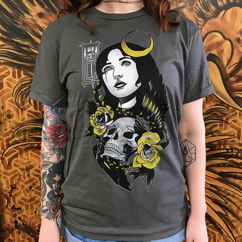 Black Cobra Tattoos Waxing Crescent Tshirt - Grey